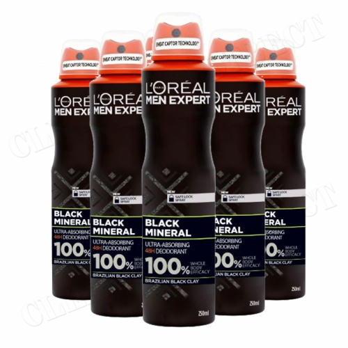 L'Oreal Paris Men Expert Black Mineral 48H Anti-Perspirant No Alcohol 250ml x 6