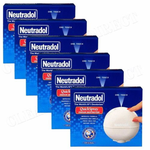 NEUTRADOL QUICK SPRAY AIR FRESHENER ODOUR DESTROYER ORIGINAL ( 6X50ml) Packs