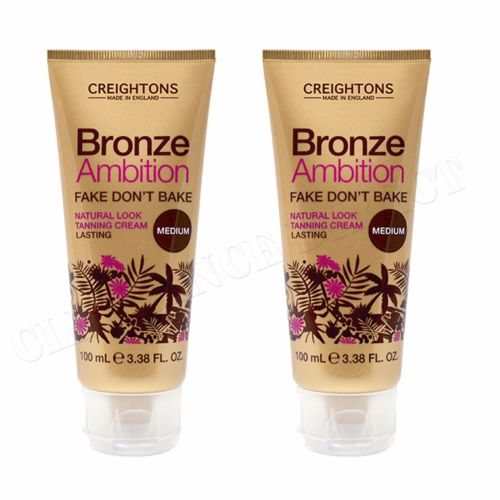NEW 2 x CREIGHTONS BRONZE AMBITION FAKE DONT BAKE NATURAL LOOK TANNING CREAM