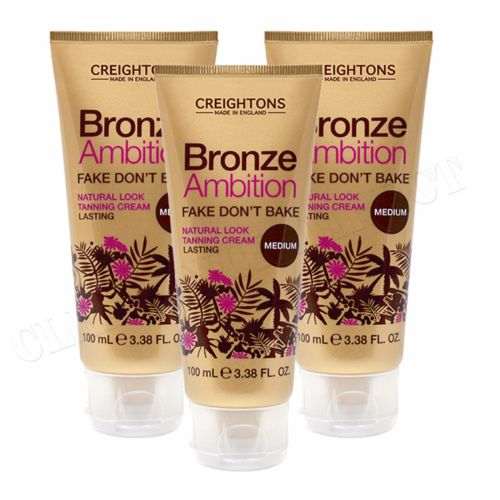 **NEW** 3 x CREIGHTONS BRONZE AMBITION FAKE DONT BAKE NATURAL LOOK TANNING CREAM
