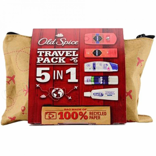 OLD SPICE GIFT SET HEAD & SHOULDER 5 IN 1 TRAVEL PACK IN RECYCLED PAPER ZIP BAG
