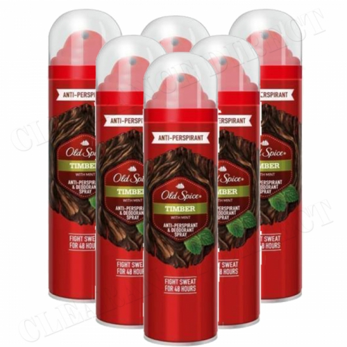 OLD SPICE TIMBER 125 ml ANTI-PERSPIRANT & DEODORANT SPRAY X 6
