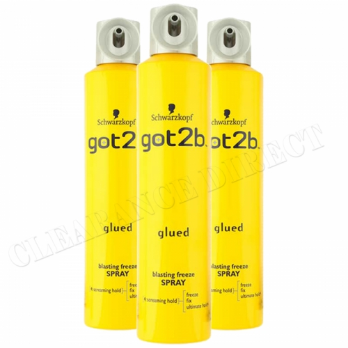 SCHWARZKOPF GOT2B GLUED BLASTING FREEZE SPRAY 300ml NEW HAIRSPRAY x 3