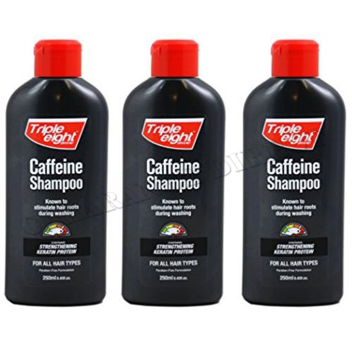 TRIPLE EIGHT CAFFEINE SHAMPOO 250ML 3 PACK PROMOTING THE GROWTH OF HAIR
