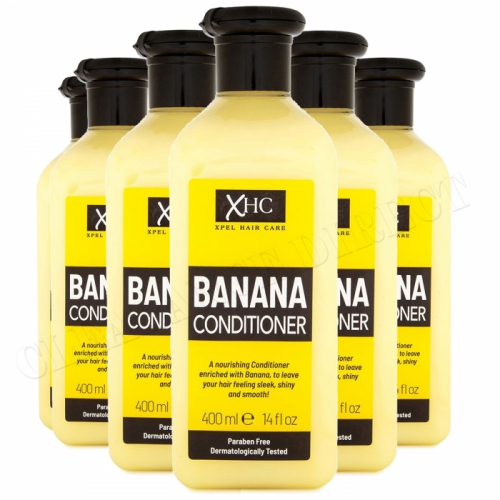 XHC Banana Conditioner 400ml x 6 Sleek Shiny Hair Paraben Free Hair Care Ladies