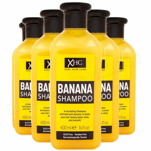 XHC Banana Shampoo 400ml x 6 Sleek Shiny Hair Paraben Free Hair Care Ladies