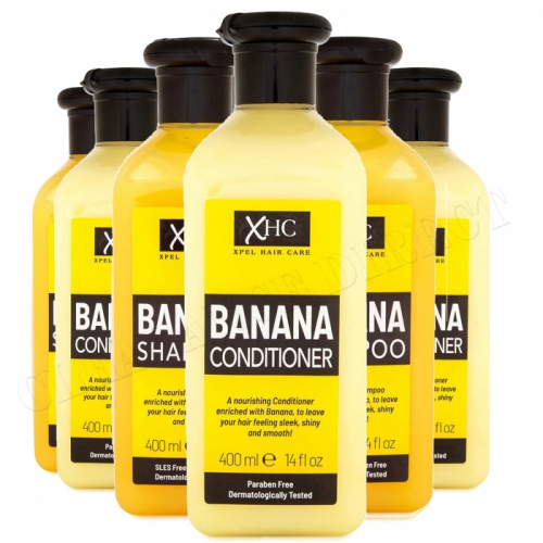 XHC Banana Shampoo & Conditioner 400ml x 6 Sleek Shiny Hair Paraben Free